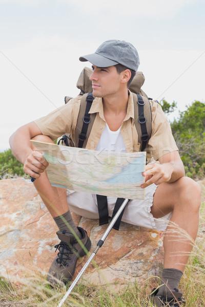 Kirándulás férfi térkép hegy terep portré Stock fotó © wavebreak_media