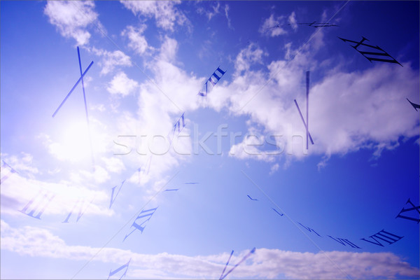 Cyfrowo wygenerowany zegar Błękitne niebo Zdjęcia stock © wavebreak_media