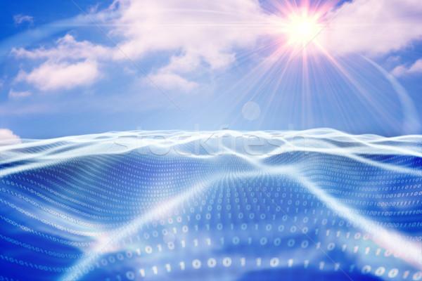 Digitaal gegenereerde binaire code landschap blauwe hemel Stockfoto © wavebreak_media