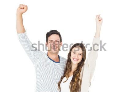 Jubel Kamera weiß weiblichen lächelnd Stock foto © wavebreak_media