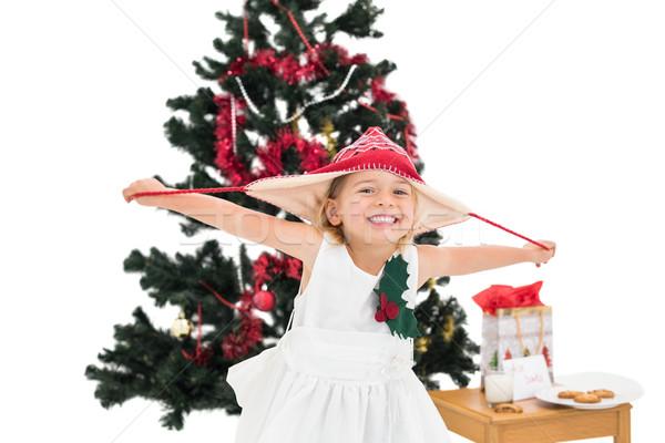 ünnepi kislány mosolyog kamera fehér gyermek Stock fotó © wavebreak_media