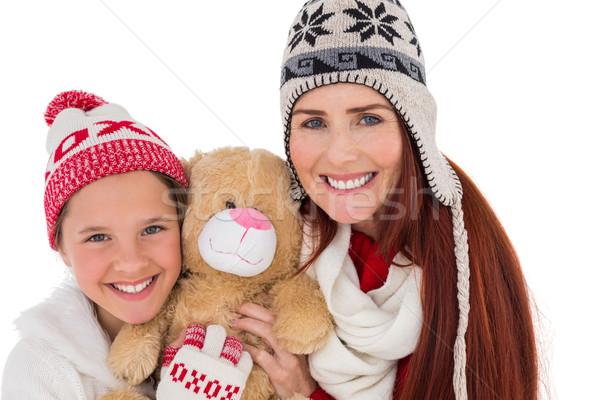 Mãe filha ursinho de pelúcia branco menina Foto stock © wavebreak_media