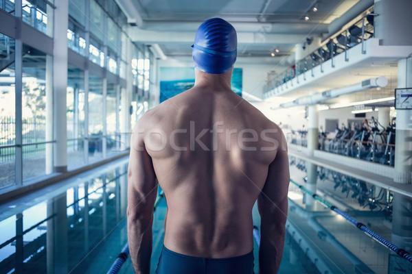 背面図 シャツを着ていない スイマー プール レジャー センター ストックフォト © wavebreak_media