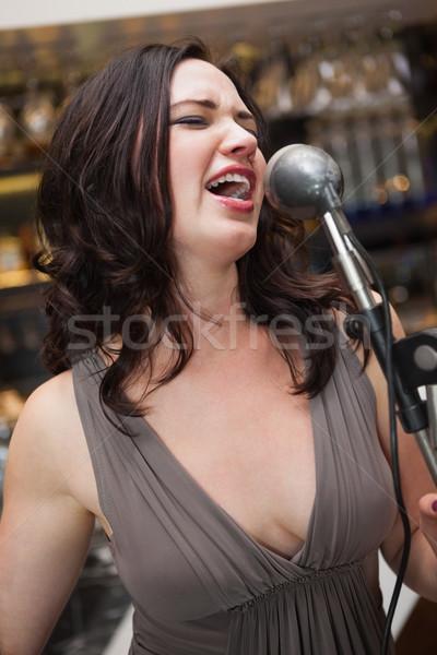 Bella bruna cantare microfono discoteca Foto d'archivio © wavebreak_media