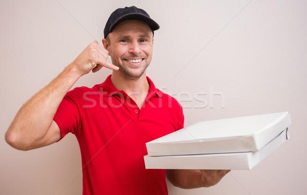 Pizza telefoongesprek gebaar huis Stockfoto © wavebreak_media