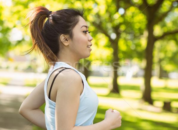 Sağlıklı kadın jogging park güzel genç kadın Stok fotoğraf © wavebreak_media