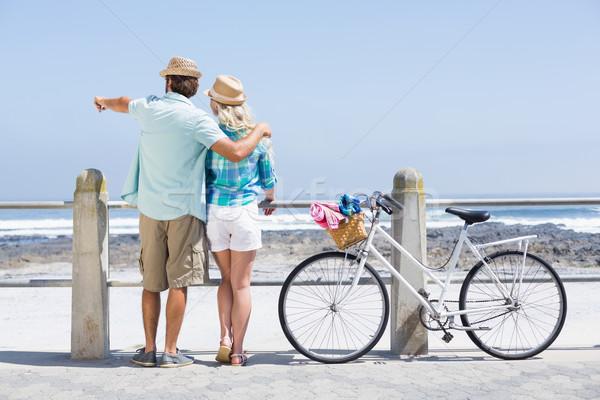 Sevimli çift bisiklet mutlu deniz Stok fotoğraf © wavebreak_media
