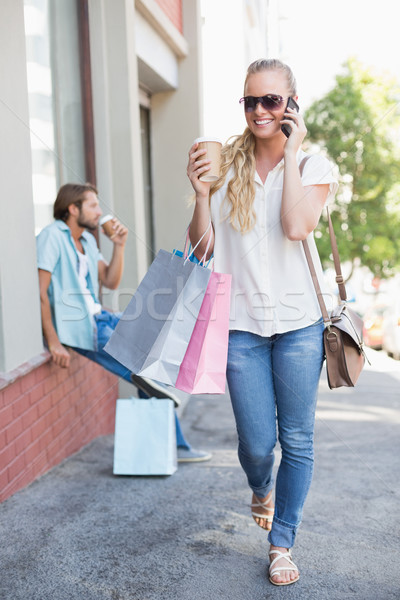 Vonzó szőke nő vásárlás utazás napos idő város Stock fotó © wavebreak_media