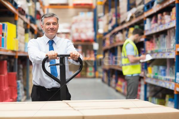 Stock fotó: Menedzser · húz · dobozok · alkalmazott · raktár · férfi