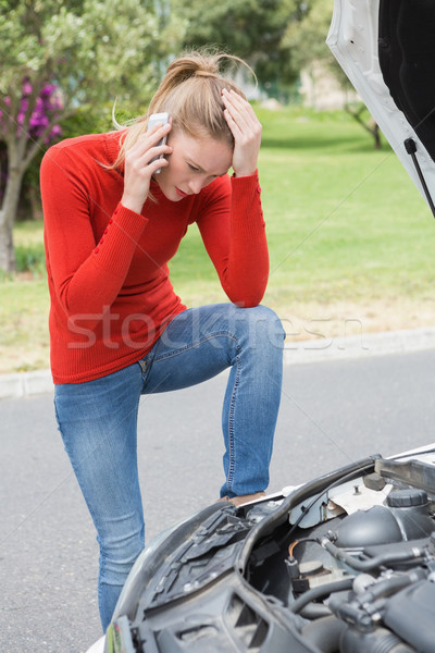 Stressed woman looking at engine  Stock photo © wavebreak_media