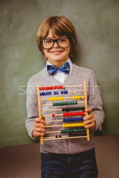 Fiú tart abakusz iskolatábla portré aranyos Stock fotó © wavebreak_media