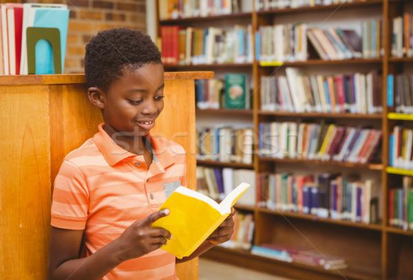 Aranyos fiú olvas könyv könyvtár kicsi Stock fotó © wavebreak_media