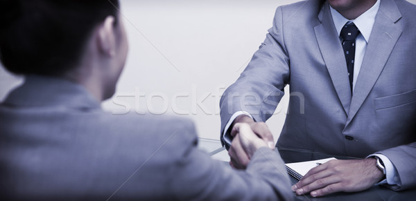Business partners sitting at a table shaking hands Stock photo © wavebreak_media
