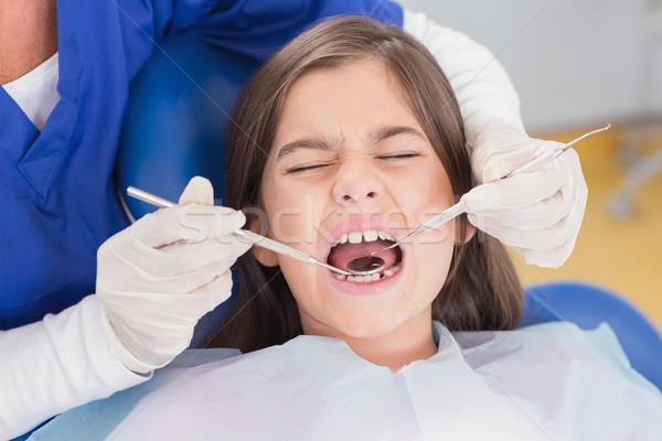 Portret bang jonge patiënt tandheelkundige onderzoek Stockfoto © wavebreak_media