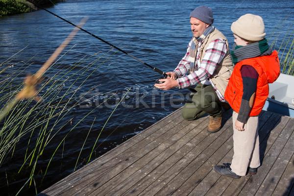 Mutlu adam balık tutma oğul bahar Stok fotoğraf © wavebreak_media