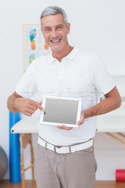 Stok fotoğraf: Gülen · doktor · dizüstü · bilgisayar · pc · tıbbi