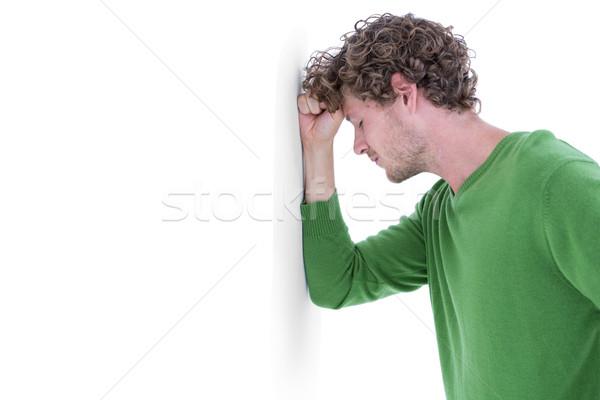 Szomorú lezser férfi dől fal fehér Stock fotó © wavebreak_media