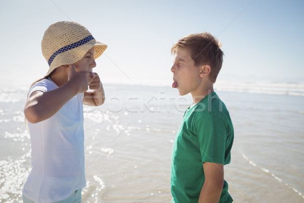 Side view of siblings teasing each other at beach Stock photo © wavebreak_media