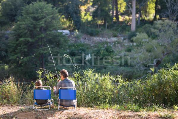 Vader zoon vissen achteraanzicht bos man Stockfoto © wavebreak_media