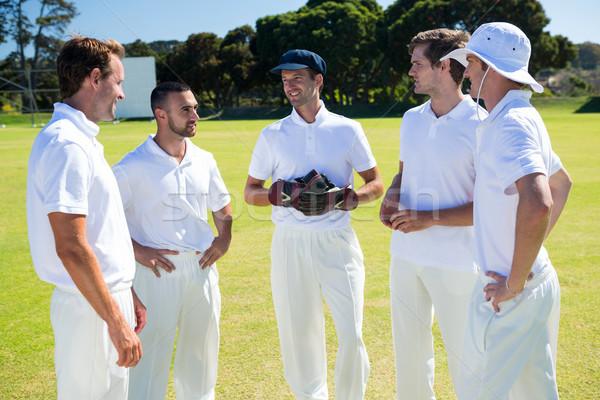 Cricket players standing at field Stock photo © wavebreak_media