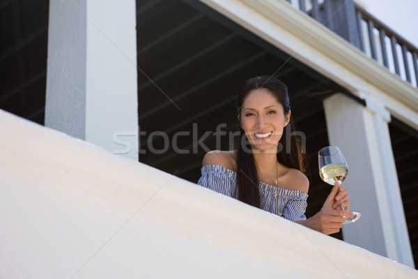 портрет женщину белое вино стекла ресторан Сток-фото © wavebreak_media