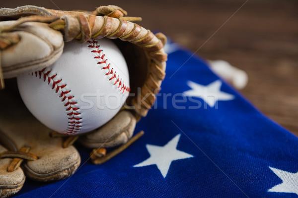 Beisebol luvas bandeira americana esportes azul Foto stock © wavebreak_media
