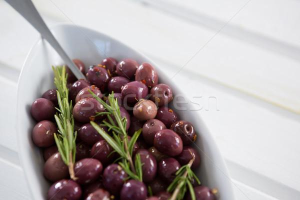 Zeytin biberiye beyaz çanak gıda meyve Stok fotoğraf © wavebreak_media