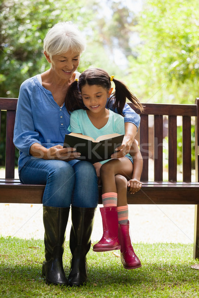 Smiling grandmother and granddaughter reading novel while sitting on wooden bench Stock photo © wavebreak_media