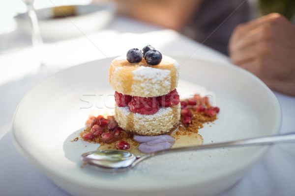 десерта пластина ресторан бизнеса женщину Сток-фото © wavebreak_media