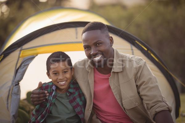 Vader zoon vergadering park portret liefde gras Stockfoto © wavebreak_media