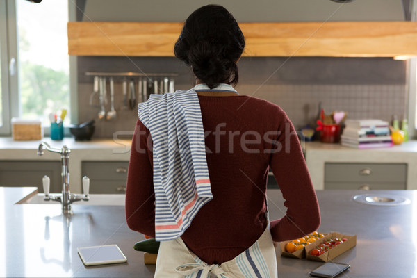 Rear view of woman cooking food in kitchen Stock photo © wavebreak_media