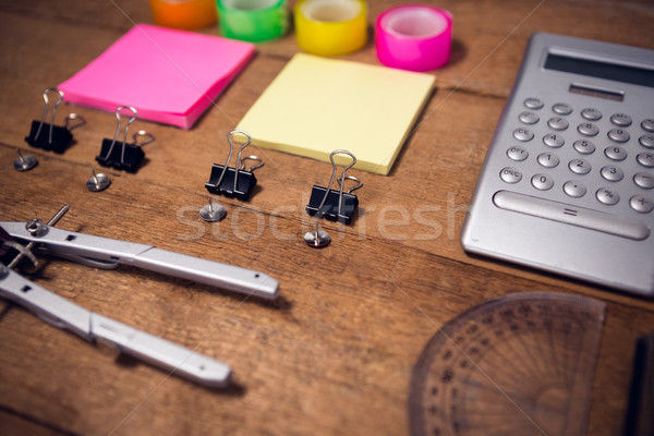 High agnle view of shot of instruments on wooden table Stock photo © wavebreak_media