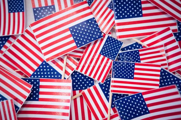Diretamente acima tiro pequeno americano bandeiras Foto stock © wavebreak_media