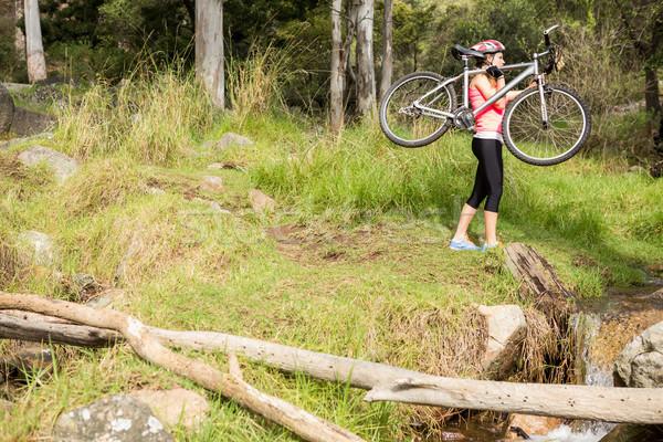 блондинка спортсмена горных велосипедов природы женщину Сток-фото © wavebreak_media