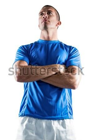Komoly rögbi játékos másfelé néz keresztbe tett kar áll Stock fotó © wavebreak_media