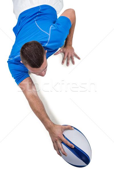 Widok z tyłu rugby gracz front piłka biały Zdjęcia stock © wavebreak_media