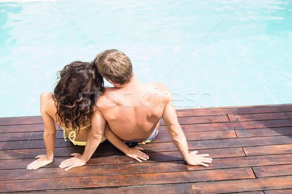 вид сзади сидят женщину воды Сток-фото © wavebreak_media