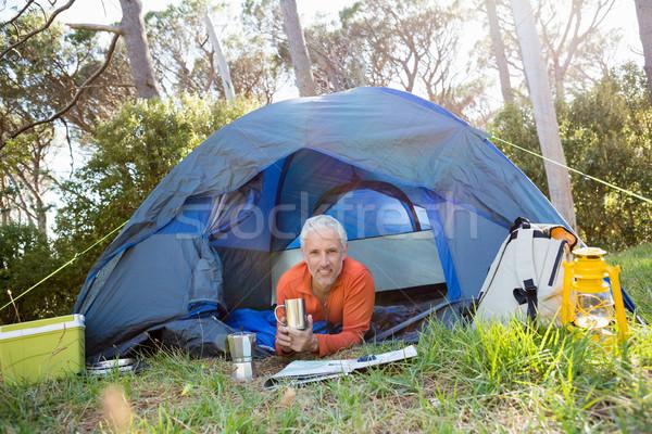 зрелый человек улыбаясь кружка лагерь Сток-фото © wavebreak_media