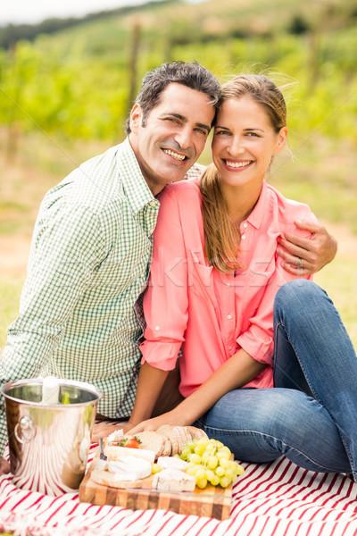 Portret gelukkig paar ontspannen deken wijngaard Stockfoto © wavebreak_media