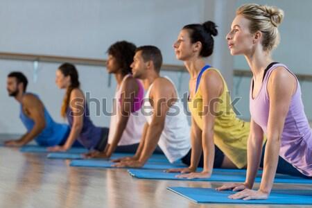 Csoportkép előad jóga fitnessz stúdió testmozgás Stock fotó © wavebreak_media