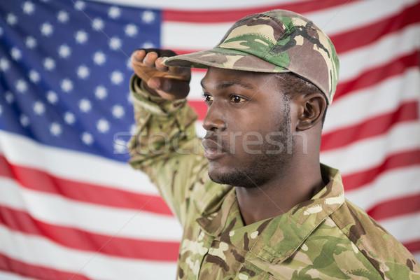 兵士 アメリカンフラグ 戦争 フラグ 楽しい ストックフォト © wavebreak_media