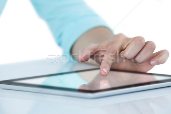 Сток-фото: стороны · цифровой · таблетка · белый · женщину