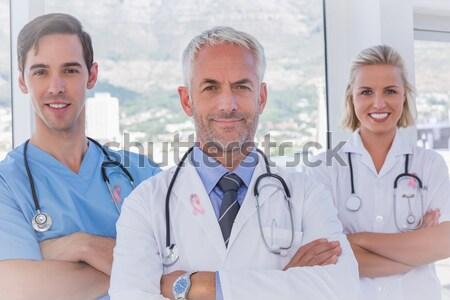 Foto stock: Retrato · médico · cirurgião · clínica · homem · feliz