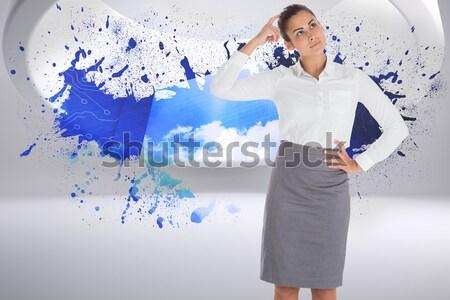 Digital composite kobieta faktyczny rzeczywistość widok z boku szary Zdjęcia stock © wavebreak_media