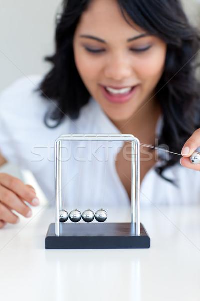 Geschäftsfrau spielen Kugeln Büro Business Spielzeug Stock foto © wavebreak_media