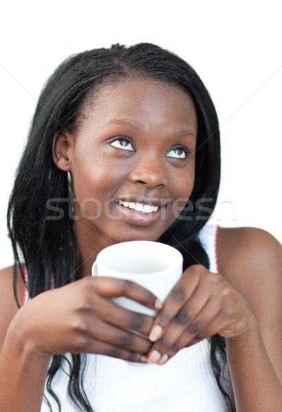 очаровательный женщину питьевой кофе белый продовольствие Сток-фото © wavebreak_media