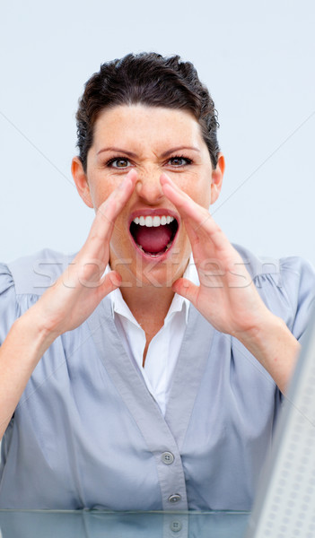 Competitive business woman yelling Stock photo © wavebreak_media