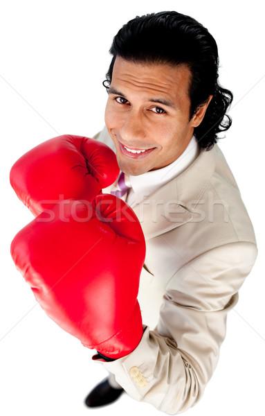 Rekabetçi işadamı boks eldivenleri beyaz adam Stok fotoğraf © wavebreak_media