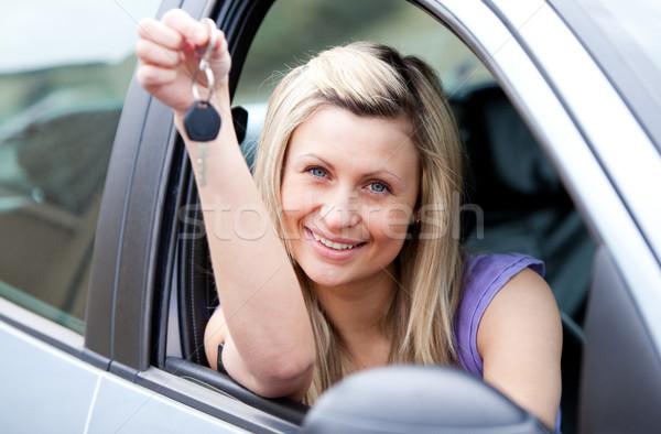 Anziehend jungen Fahrer halten Schlüssel Stock foto © wavebreak_media