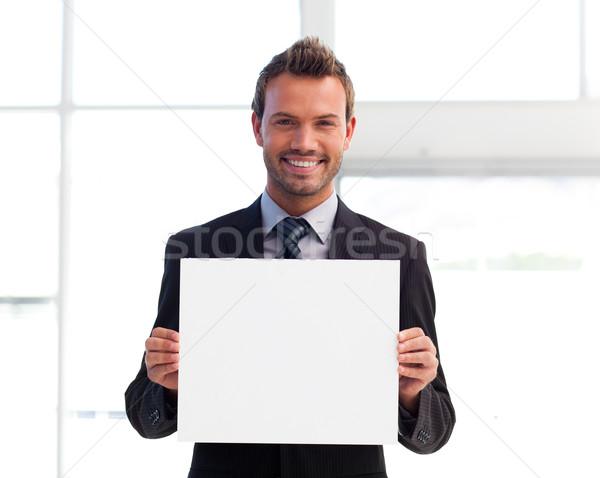 Foto stock: Sonriendo · empresario · blanco · tarjeta · jóvenes